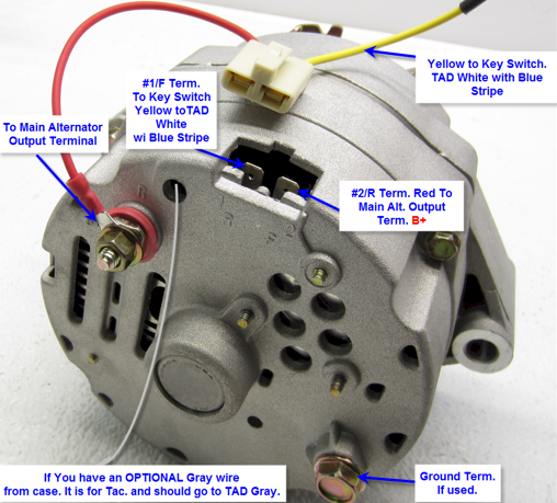 one wire alternator diagram with tach drive   43 wiring