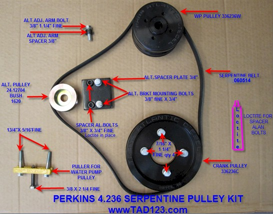 TAD for, Serpentine Pulley Kits, Perkins 4 236 Pulley Kit, Perkins